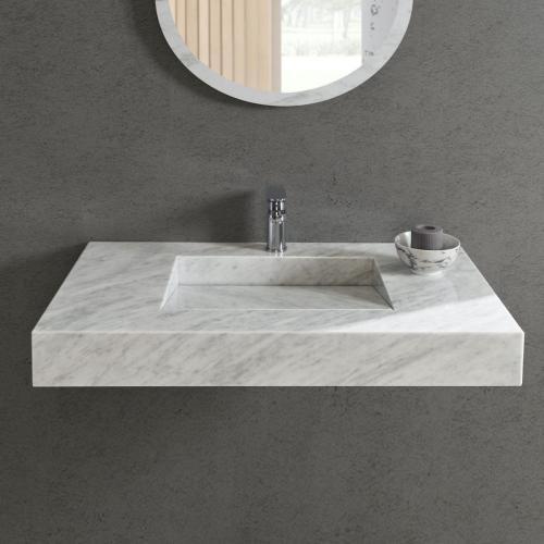 Carrara marble washbasin / wall-mounted / rectangular / marble